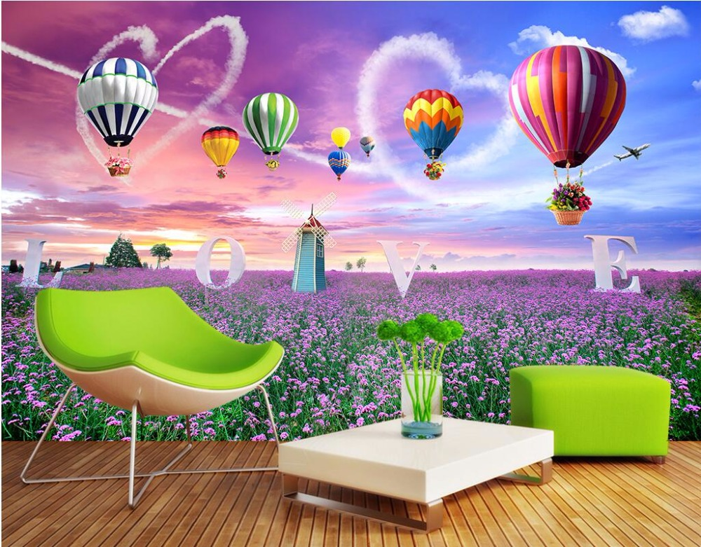 3d wandbilder wallpaper f r wohnzimmer w nde 3 d fototapete lavendel blumen und ballon home - 3d wandbilder wohnzimmer ...