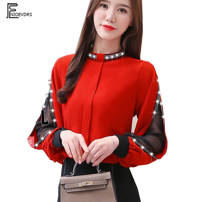 2019 Basic Shirts Blouses Hot Sales Women Fashion Patchwork Black Mesh Sheer Sequined Top Button Black Red Elegant Shirt F239