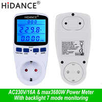 AC digital voltmeter ammeter power supply voltage meters detector wattmeter  tester Measuring EU socket analyzer With Backlight