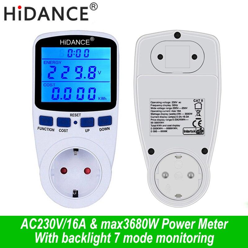 AC digital voltímetro amperímetro metros detector de tensão de alimentação wattímetro analisador de Medição testador soquete DA UE Com Backlight