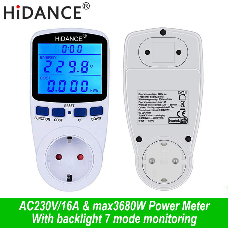 AC digital voltmeter ammeter power supply voltage meters detector wattmeter  tester Measuring EU socket analyzer With Backlight AC digital voltmeter ammeter power supply voltage meters detector wattmeter  tester Measuring EU socket analyzer With Backlight