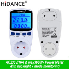 цена на AC digital voltmeter ammeter power supply voltage meters detector wattmeter  tester Measuring EU socket analyzer With Backlight