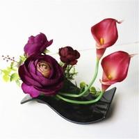 Artificial Flower Bonsai Simulation Potted Houseplants + Black Flowerpot Set Decor Wedding Party Christmas Desktop Art Craft