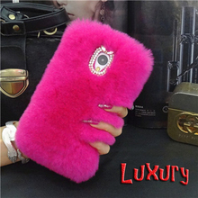 Luxury top Real Rex Rabbit Hair Fur diamond bling coque Case For Samsung Galaxy J1 J2