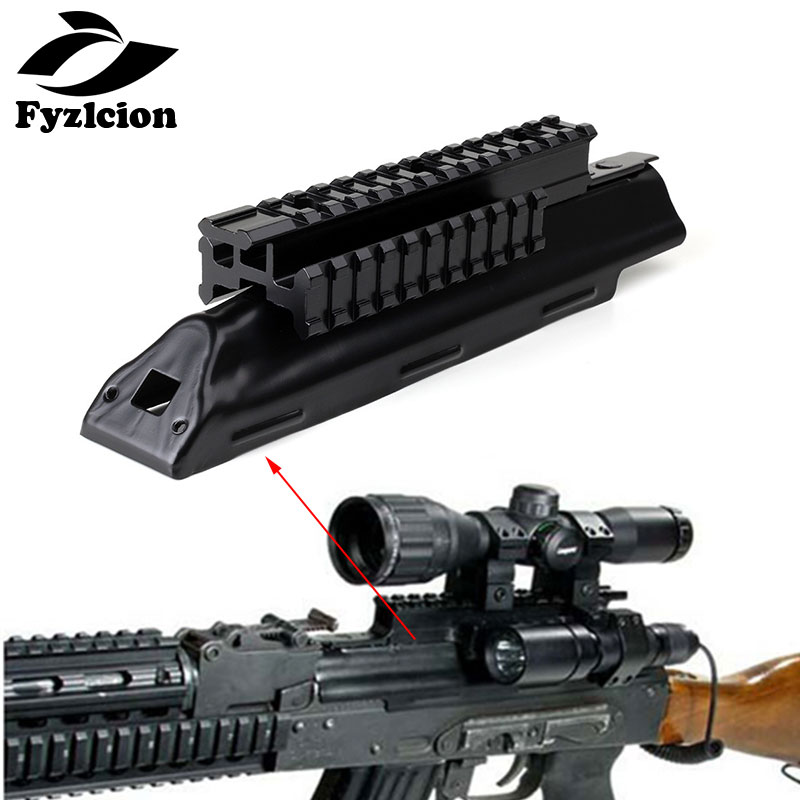 AK47 Top Receiver Cover Scope Mount Base Dust Cover with Picatinney Top Rail MNT-<font><b>970A</b></font> See Through See-Thru AK Rail image