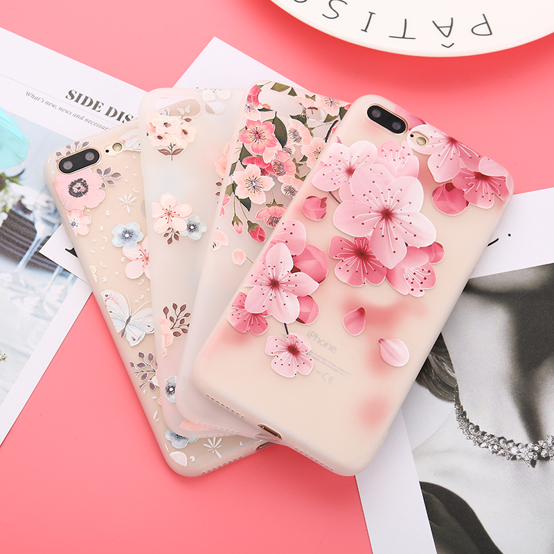 Galleria fotografica 3D Relief Emboss Flower Phone Case For iPhone 8 Plus Sexy Girly Matte Soft Silicone TPU Cover For iPhone 6 6S 7 Plus Capa Coque