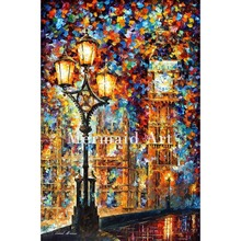 Hand Painted London's Dream Landscape Abstract Palette Knife Modern Oil Painting Canvas Wall Living Room Artwork Fine Art