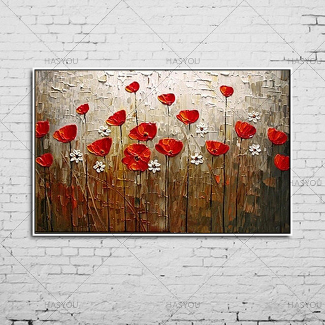 Online shop handmade landscape abstract palette knife white red handmade landscape abstract palette knife white red poppies flower oil painting canvas home wall living room artwork fine art mightylinksfo