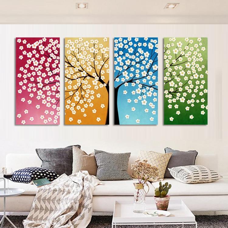 Suure seinakunstiga kodukaunistus Abstraktne puu maalimine Värvilised maastikumaalid Lõuend pilt elutoa kaunistamiseks ilma raamita