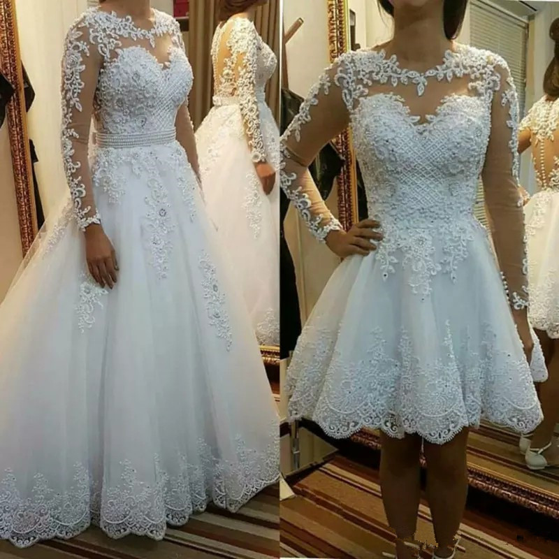 QQ Lover 2019 Detachable train Lace Appliques Pearls Bridal Gowns 2 en 1 Vestido De Noiva
