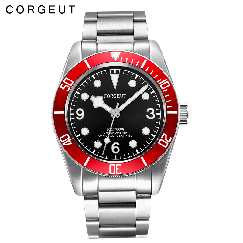 лучшая цена 41mm CORGEUT Men's Simple Fashion Automatic Mechanical Watch Waterproof Watch Men's Luminous Mechanical Watch
