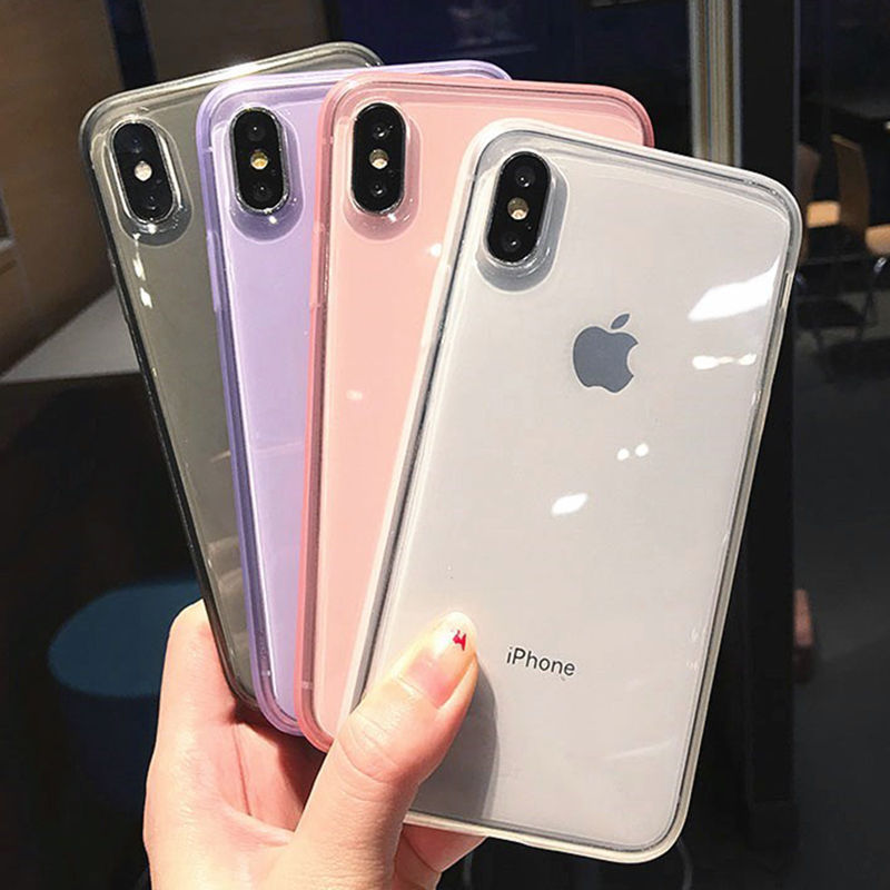 Fashion colorful Transparent Anti-shock Frame Phone Case For iPhone X XS XR XS Max 8 7 6 6S Plus Soft TPU Protection Back Cover(China)