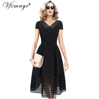 Vfemage Women Elegant Sexy See Through Mesh V Neck Vintage Pinup Tunic Casual Party Cocktail Prom