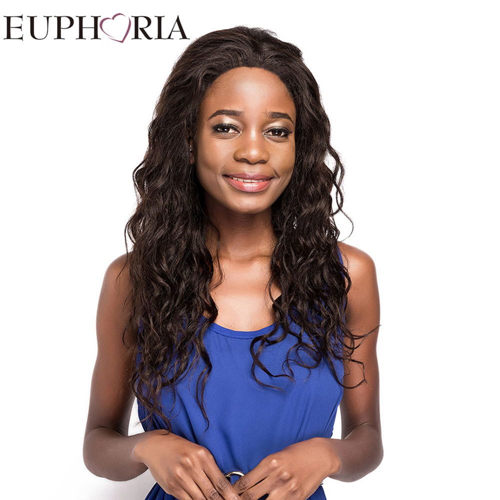 EUPHORIA 3x13 Lace Frontal Human Hair Wigs 22 190g Long Natural Color Afro Kinky Curly B ...