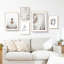 Girl Poster Nordic Woman Painting Feather Picture Canvas For Living Room Quotes Posters And Prints Black White Unframed