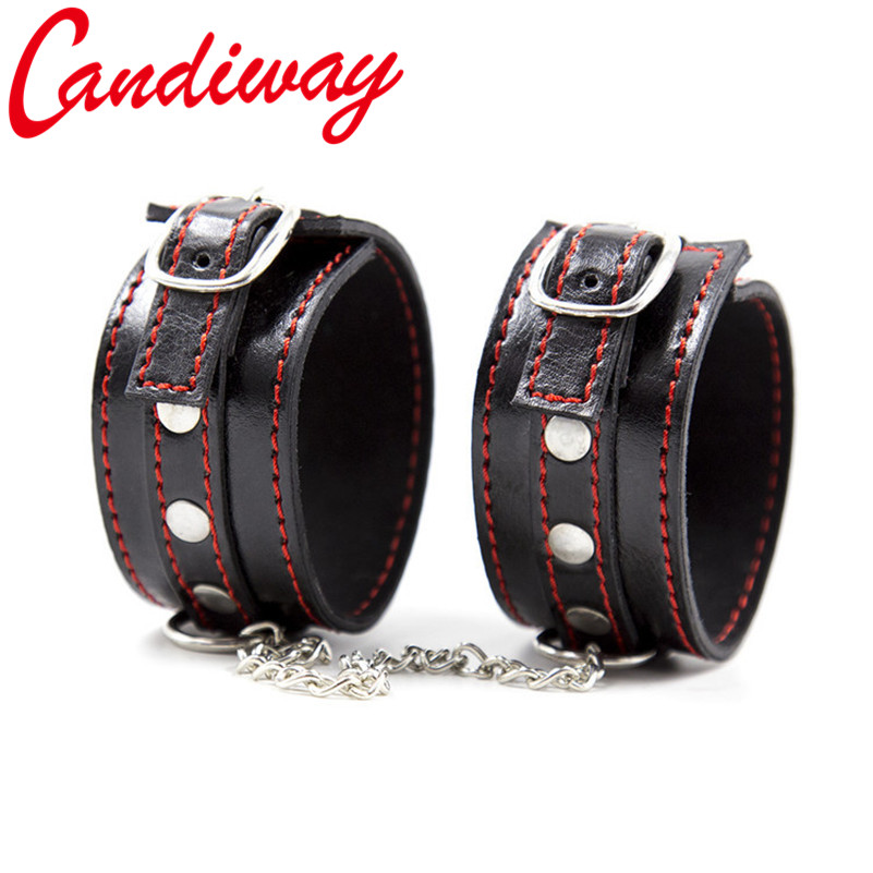 Bdsm Leather Hand Ring Tiny Handcuff Ankle Cuffs Restraint Bondage Boutique Fetish -6011