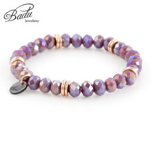 Badu 8mm Crystal Beaded Bracelet Women Fashion Jewelry Gift for Girls Multi Colors Beads Charm Bracelets Wholesale