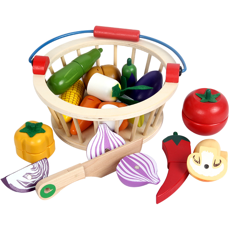 2018New Simulation Food 12/14/16pcs Cutting Fruit/Vegetable Basket Wooden Toys Children Kitchen Toy Birthday Gift HW-0014*