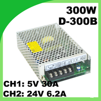 110 / 220VAC 300W dual switching power supply D 300B 5V 30A & 24V 6.2A ac to dc voltage converter