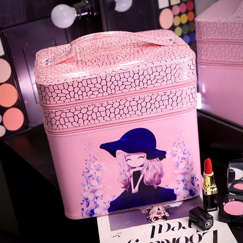 New 2017 Double Layer Women Cosmetic Bag Beauty Pattern Cosmetic Case PU Makeup Organizer Bags Ladies Make up Bag for Girls fashion cosmetic bags high quality patent leather make up bags ladies cosmetic cases organizer bags cute cosmetic bag