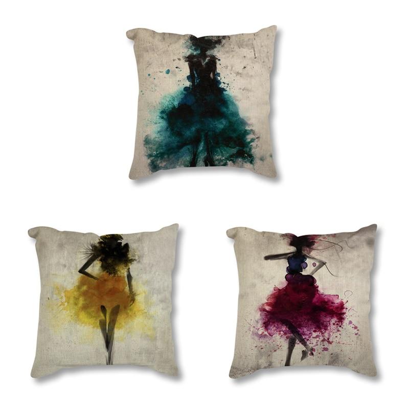 Fashion Girl Minimalist Art  Printed Decorative Cushion For Sofa Car Abstract Watercolor Painting Throw Pillow 45X45 Home Decor