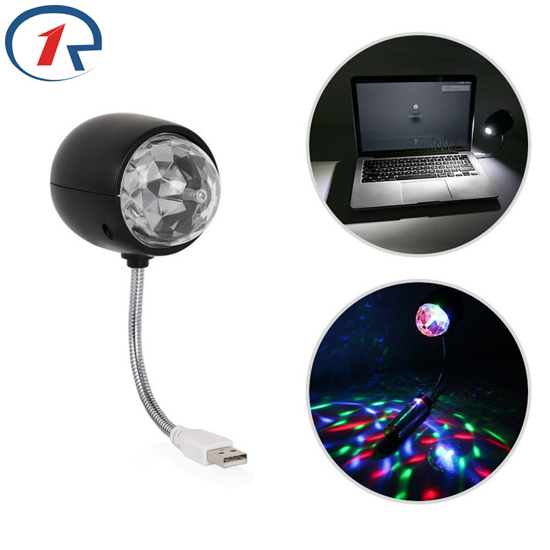 ZjRight 2 en 1 USB RGB Stage Light Party DJ KTV Bar Blanco Led bola de cristal Lámpara de mesa Iluminación del hogar Portátil Luces de colores
