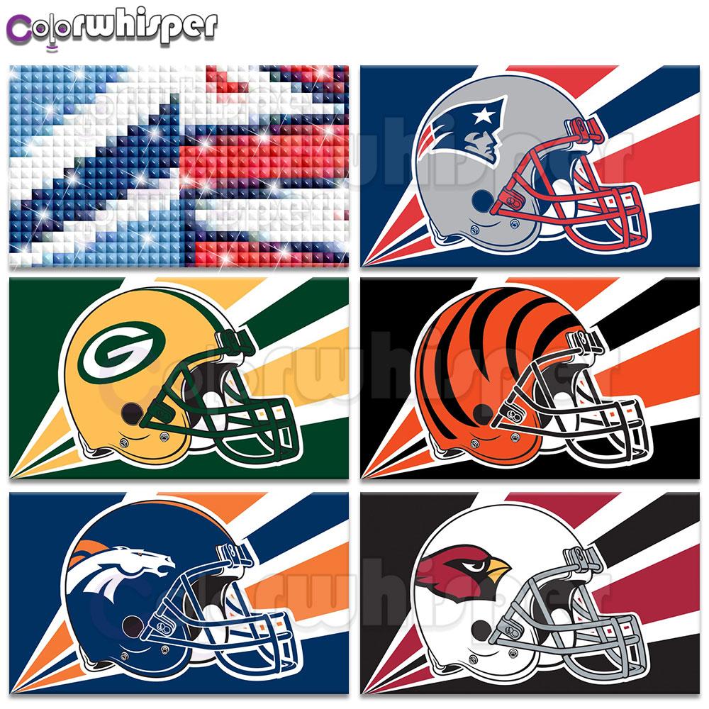 Pittura diamante Pieno Quadrato/Rotondo Trapano NFL Logo della Squadra Squadra di Football Americano Timone Logo Sport Marito di Cristallo Punto Croce 580DP
