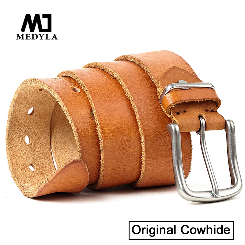 MEDYLA 100% Cow Genuine Leather Belts for Men High Quality Upper Leather Cowskin Belts Personality Buckle Strap Cinto Masculino