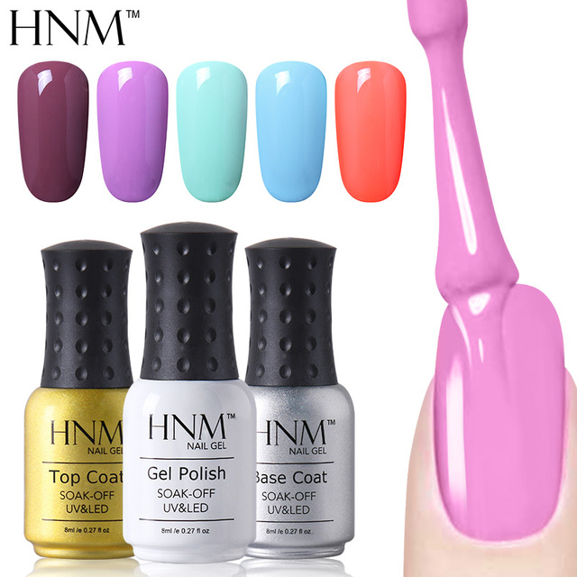 HNM 8ml UV Gel Nail Polish Pure Colors Nail Gel Lacquer LED Lamp Gel Polish Soak Off Gel Varnish Gelpolish