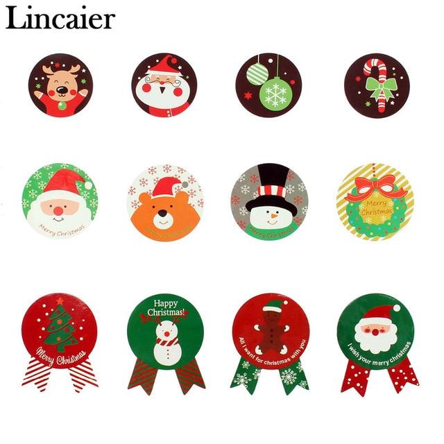 lincaier 80pcs 2018 christmas label stickers gift bag santa sacks