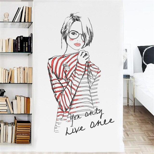 cute diy wall art decal decoration fashion romantic lovely girl wall
