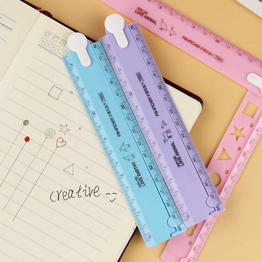 2 PCS 30cm Korean Cute Candy Color Multifunction PVC Folding Ruler Tool Promotional Gift Stationery Office School Supplies