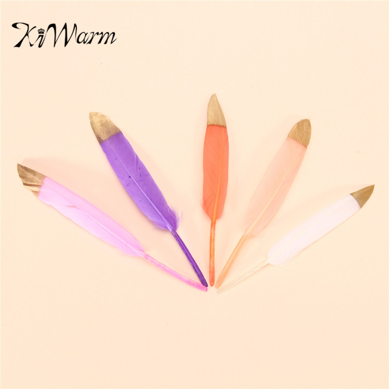 KiWarm Newest Double Side Gold Color Wholesale 50pcs Beautiful Natural Goose/Duck Feather 4-6inches/10-15cm For Home Decoration