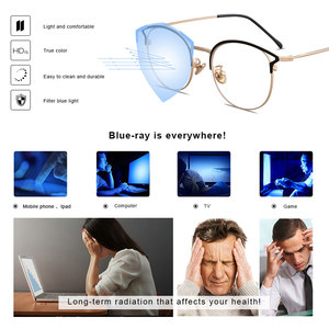 Image 3 - Hot Sale Retro Cat Eyes Glasses Frame Anti Blue Light Men Women Flat Mirror Metal Optical Eyeglasses Frame for Women PL1112