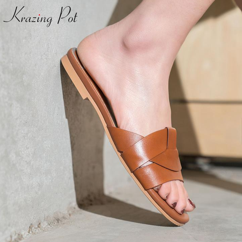 Ayakk.'ten Terlikler'de Krazing Pot yeni marka hakiki deri peep toe slaytlar düz yaz terlik özlü dairywear modeli gösterisi tembel plaj ayakkabısı l55'da  Grup 1