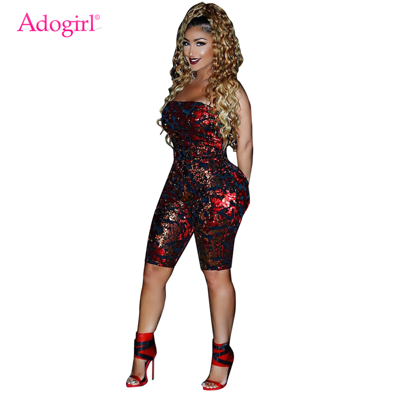 be0666f730c Detail Feedback Questions about Adogirl Velvet Sequins Women Jumpsuit Sexy  Strapless Romper Bar Night Club Party Playsuits Autumn Winter Outfits  Christmas ...