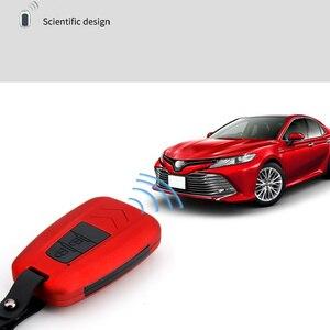 Image 5 - 패션 ABS 실리카 젤 + 탄소 섬유 자동차 키 커버 케이스 보호 도요타 캠리 CHR 프리우스 Corolla RAV4 프라도 Auris Corolla Avens