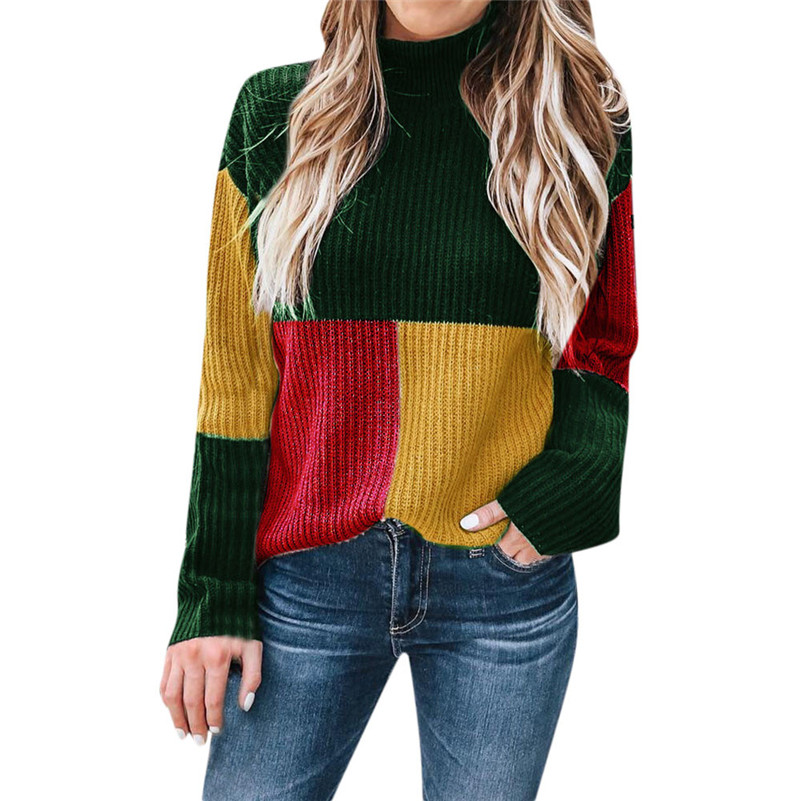 Women Colorblock Stand Long Sleeve Knitted Sweater Jumper Pullover Top Blouse Feminina Casaco Feminino Sueter Mujer Sauteur QB2