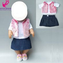 Doll clothes for 40cm 43cm infant born Baby Doll skirt fur vest shirt 18 inch girl doll winter clothes(China)