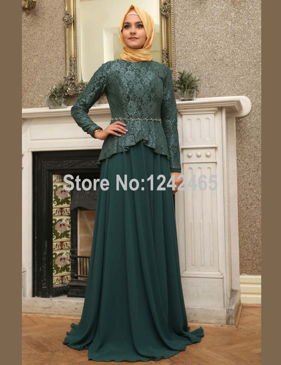 sheath hijab evening dress floor length long lace and With robe longue manche longue hijab