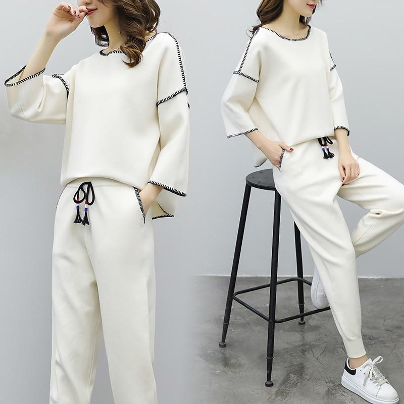 2 Tricot Lâche Blanc De 1 À Hong Chandail Nouvelle La Mouvement Pièce Équipée Marée Western Femelle Printemps Mode Style Kong Saveur rZZ6R4