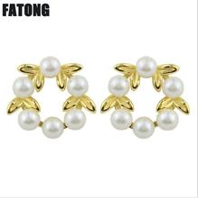 925 sterling silver leaf earrings female 14k gold temperament small fresh six bead garland J0301