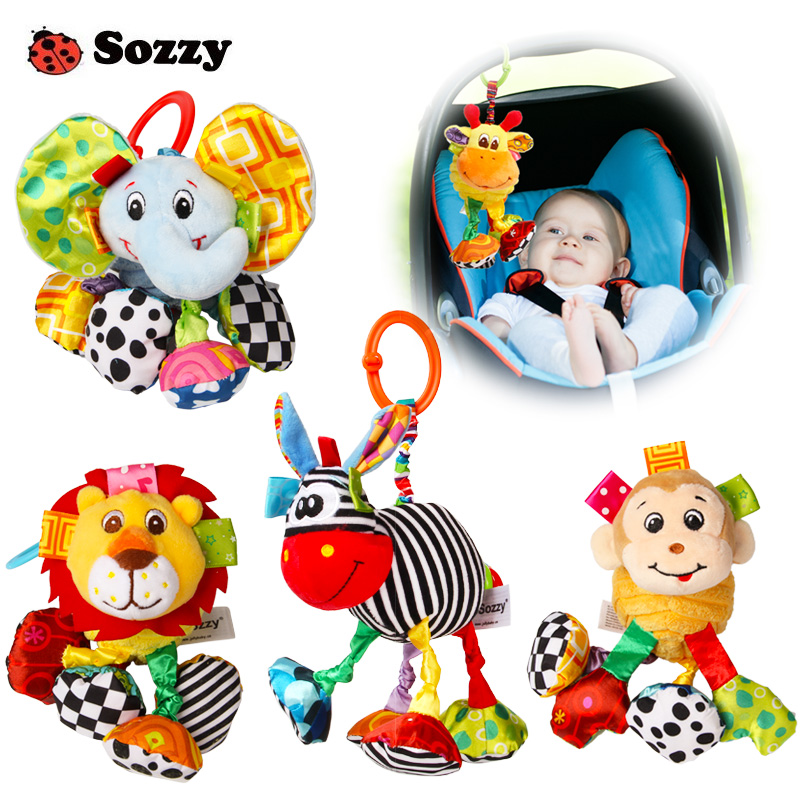 Sozzy Baby Soft Plysj Fyllet Animal Pull and Shake Vibrate Rattle Bed Crib Mobil Hengende Morsomme Bebe Leker For Nyfødte Barn