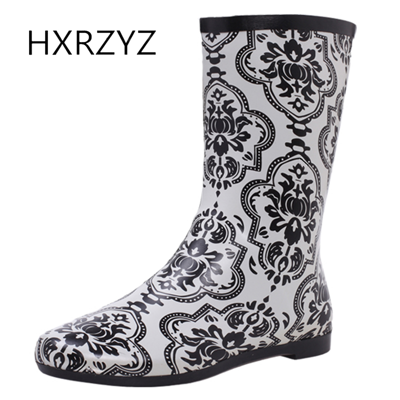 HXRZYZ female print rubber boots Mid-Calf rain boots spring/autumn new fashion flowers slip-resistant waterproof women shoes double buckle cross straps mid calf boots