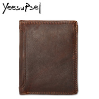 YeeSupSei RFID BLOCKING Stylish Men Wallet Genuine Leather Male Bifold Purse Card Pocket RFID Protection Fashion Dollar Purse