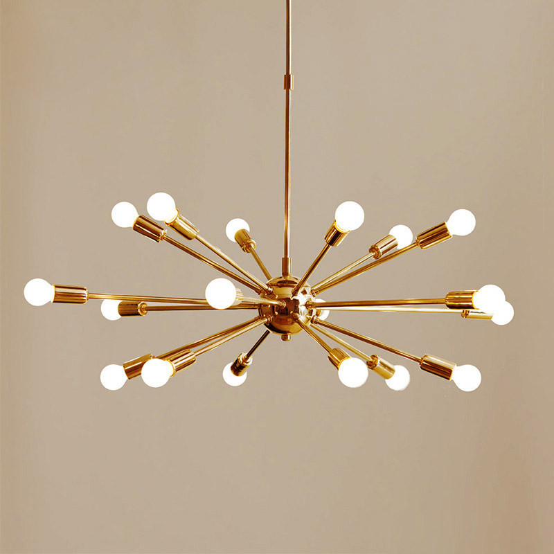 Modern Gold Ceiling hanging Light Chandeliers Suspension Lamp Mid Century Brass Sputnik Chandelier Free Shipping