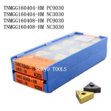 Ferramentas de fresagem, 50 peças tnmg160408 TNMG160404 HM pc9030 nc3030 korloy cnc carboneto inserções de fresagem de ponta inxoidável cortador mtjnr