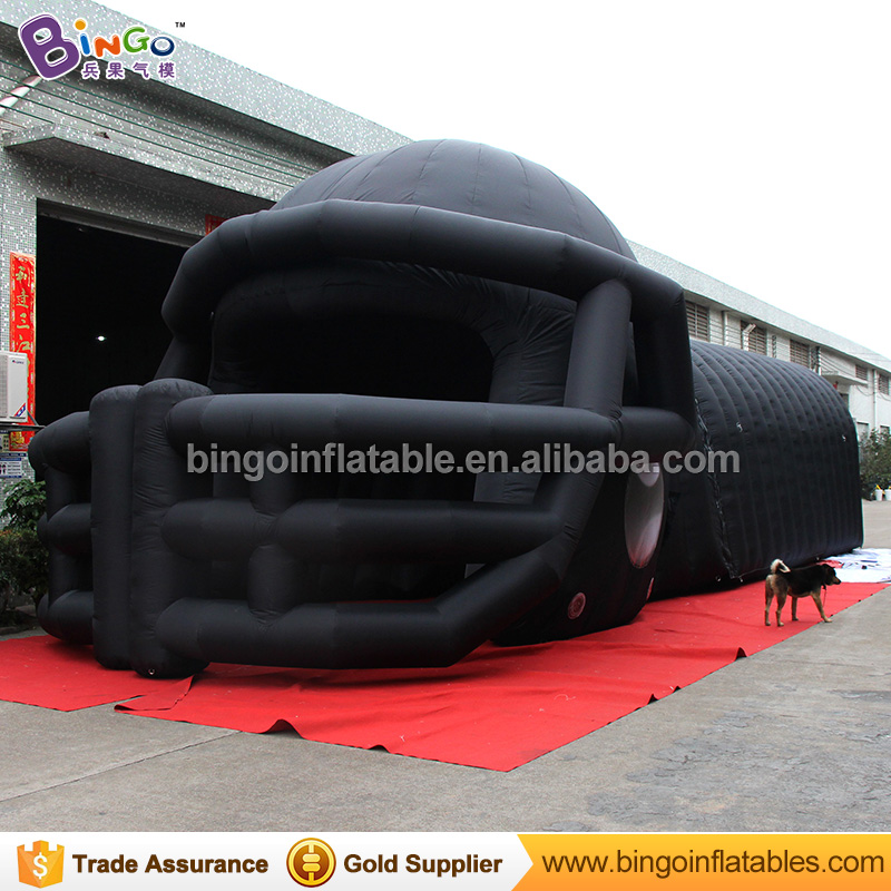 12M Long Helmet Shaped Inflatable Football Tunnel for Sport, Black Inflatable Helmet Entrance Tunnel for Sport Game