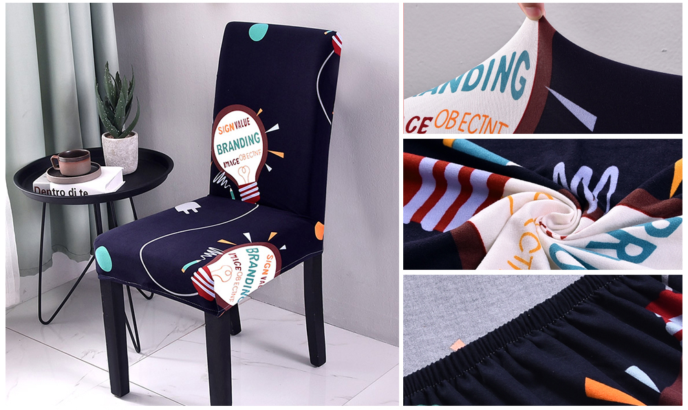 Black Spandex Chair Cover Stretch Geometry Kitchen Chair Covers Anti-dirty housse de chaise Towel Chair Seat Covers For Chairs