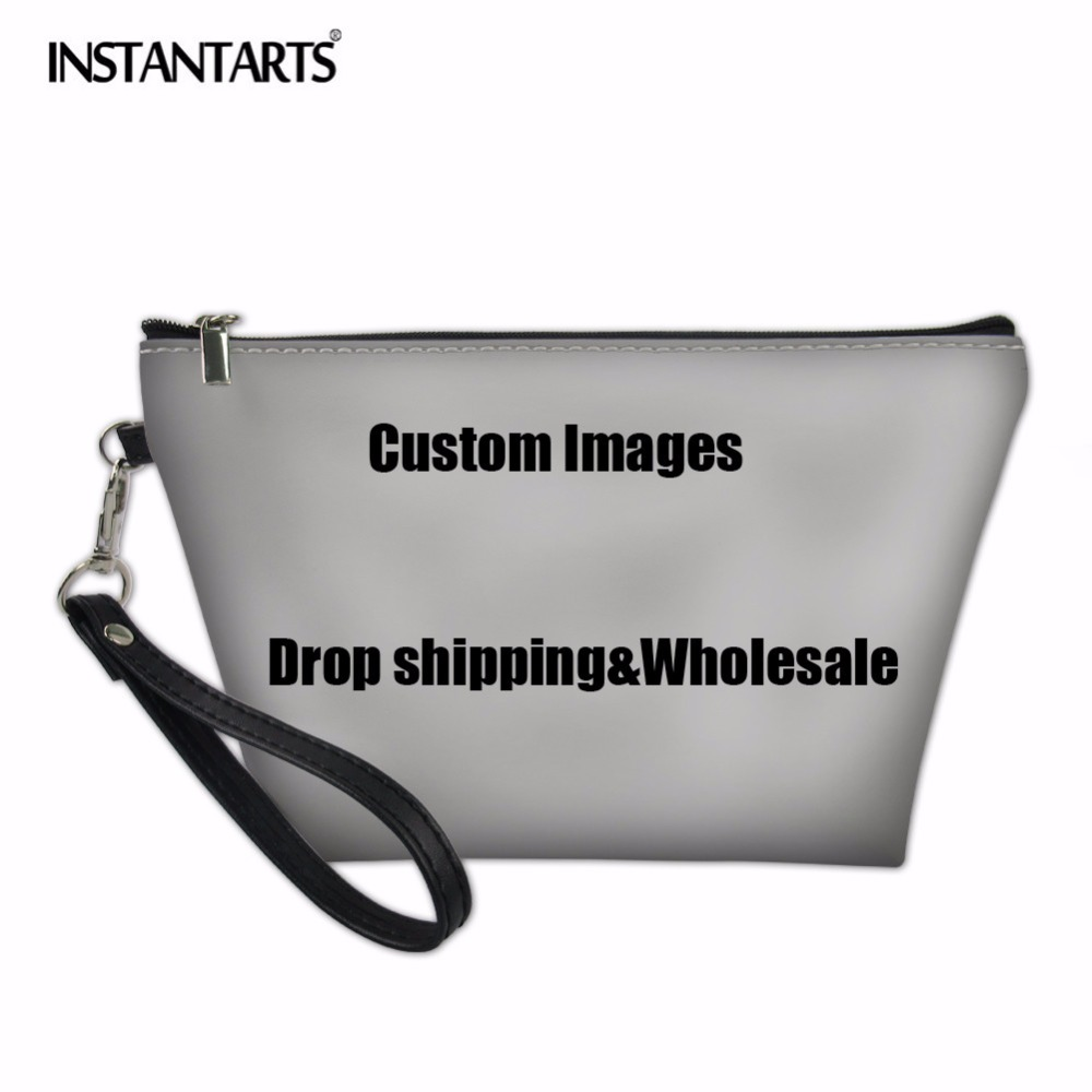 INSTANTARTS Fashion Women Cosmetic Bags Daily Use Makeup Bags For Girl Female Custom Images or Logos Drop Shpping and Wholesale dos logos